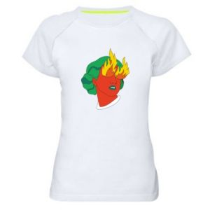 Women's sports t-shirt Girl With Fire