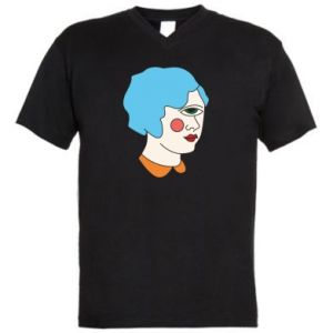 Men's V-neck t-shirt Girl with one eye - PrintSalon
