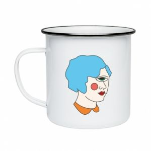 Enameled mug Girl with one eye - PrintSalon