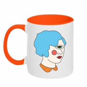 Two-toned mug Girl with one eye - PrintSalon