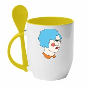 Mug with ceramic spoon Girl with one eye - PrintSalon