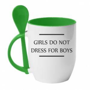 Kubek z ceramiczną łyżeczką Girls do not dress for boys