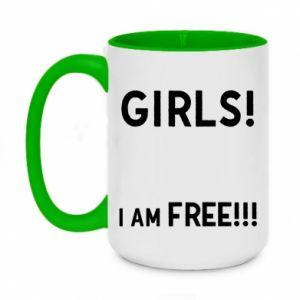 Two-toned mug 450ml Girls I am free