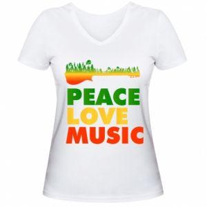 Women's V-neck t-shirt Guitar forest
