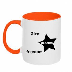 Kubek dwukolorowy Give dreams freedom