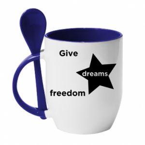 Kubek z ceramiczną łyżeczką Give dreams freedom