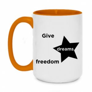 Two-toned mug 450ml Give dreams freedom