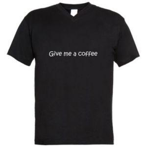 Męska koszulka V-neck Give me a coffee