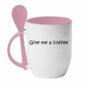 Kubek z ceramiczną łyżeczką Give me a coffee
