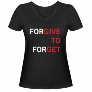 Damska koszulka V-neck Give To Get - PrintSalon