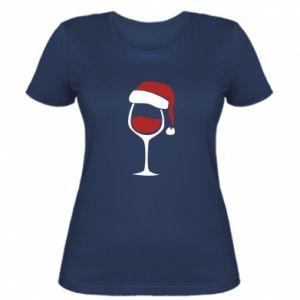 Women's t-shirt Glass of wine in christmas hat - PrintSalon