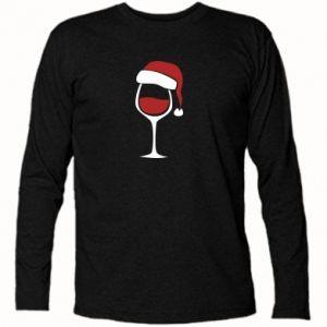 Long Sleeve T-shirt Glass of wine in christmas hat - PrintSalon