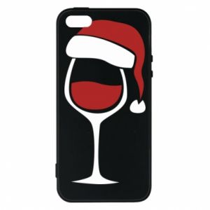 Etui na iPhone 5/5S/SE Glass of wine in christmas hat