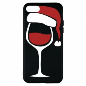 Etui na iPhone 7 Glass of wine in christmas hat