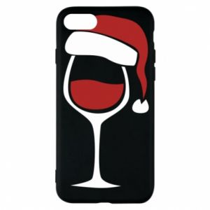 Etui na iPhone 8 Glass of wine in christmas hat