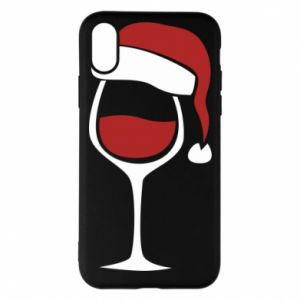 Etui na iPhone X/Xs Glass of wine in christmas hat