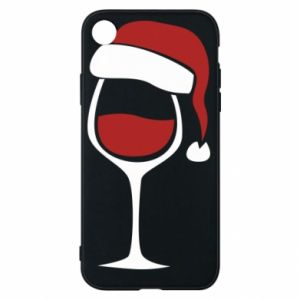 Etui na iPhone XR Glass of wine in christmas hat