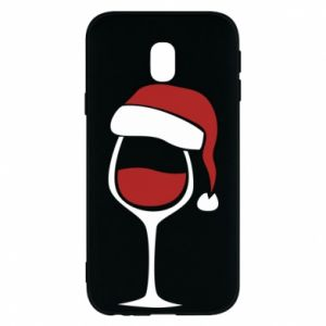 Etui na Samsung J3 2017 Glass of wine in christmas hat