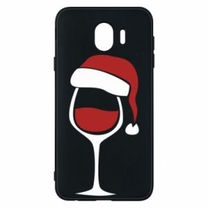 Etui na Samsung J4 Glass of wine in christmas hat