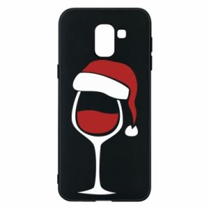 Etui na Samsung J6 Glass of wine in christmas hat