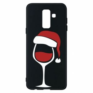 Etui na Samsung A6+ 2018 Glass of wine in christmas hat