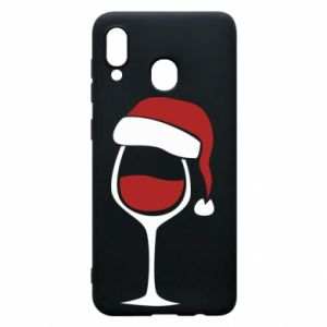 Etui na Samsung A20 Glass of wine in christmas hat
