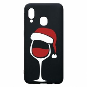 Etui na Samsung A40 Glass of wine in christmas hat