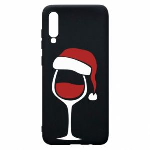 Etui na Samsung A70 Glass of wine in christmas hat