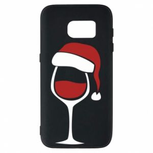 Etui na Samsung S7 Glass of wine in christmas hat
