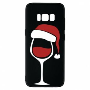 Etui na Samsung S8 Glass of wine in christmas hat