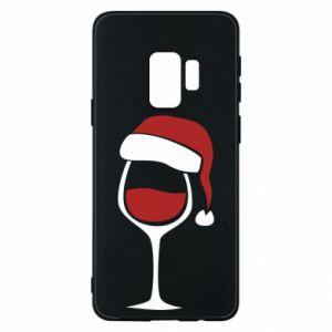Etui na Samsung S9 Glass of wine in christmas hat