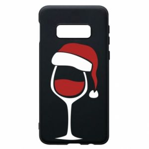 Etui na Samsung S10e Glass of wine in christmas hat