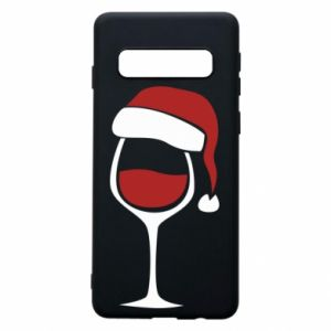 Etui na Samsung S10 Glass of wine in christmas hat