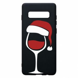 Etui na Samsung S10+ Glass of wine in christmas hat