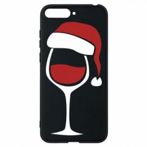 Etui na Huawei Y6 2018 Glass of wine in christmas hat