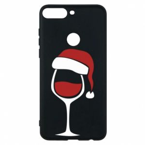 Etui na Huawei Y7 Prime 2018 Glass of wine in christmas hat