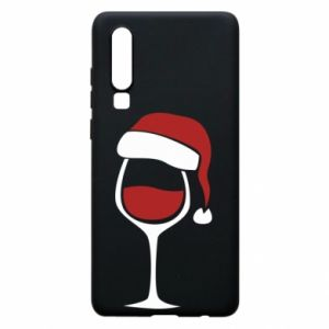 Etui na Huawei P30 Glass of wine in christmas hat
