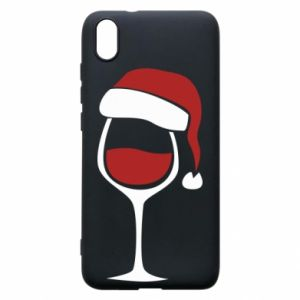 Etui na Xiaomi Redmi 7A Glass of wine in christmas hat