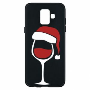 Etui na Samsung A6 2018 Glass of wine in christmas hat