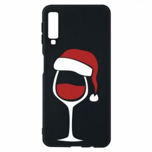 Etui na Samsung A7 2018 Glass of wine in christmas hat