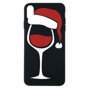 Etui na iPhone Xs Max Glass of wine in christmas hat