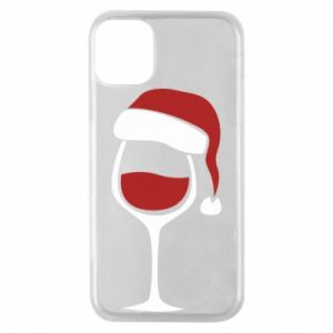 Etui na iPhone 11 Pro Glass of wine in christmas hat