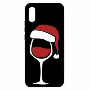 Etui na Xiaomi Redmi 9a Glass of wine in christmas hat