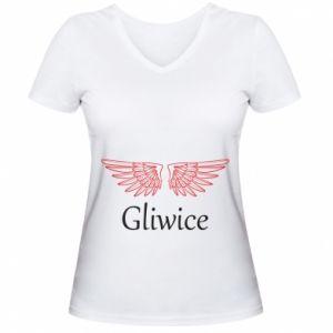 Damska koszulka V-neck Gliwice skrzydła