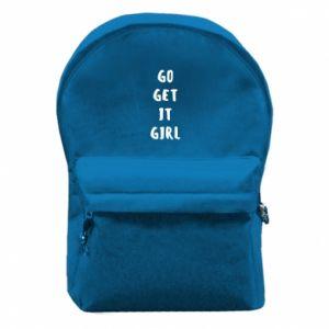 Plecak z przednią kieszenią Go get it girl