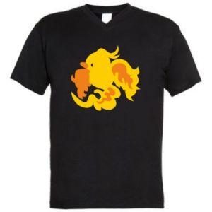 Men's V-neck t-shirt Golden Phoenix - PrintSalon