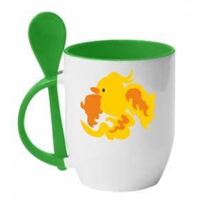 Mug with ceramic spoon Golden Phoenix - PrintSalon