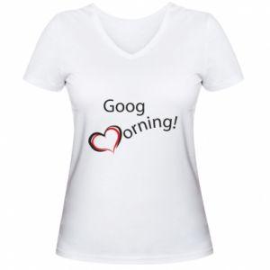 Damska koszulka V-neck Good morning z sercem