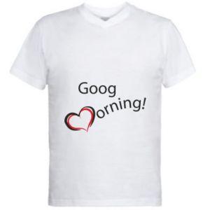 Męska koszulka V-neck Good morning z sercem