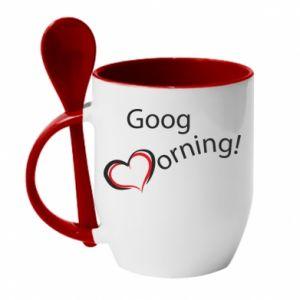 Kubek z ceramiczną łyżeczką Good morning z sercem